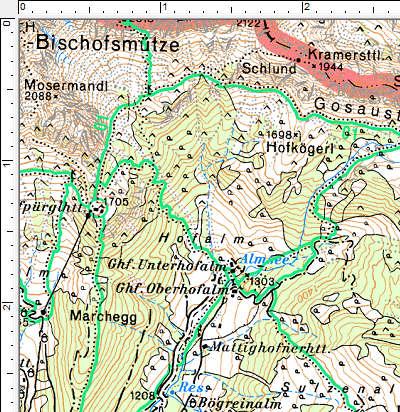 Routenverlauf Unterhofalm - Almsee - Oberhofalm