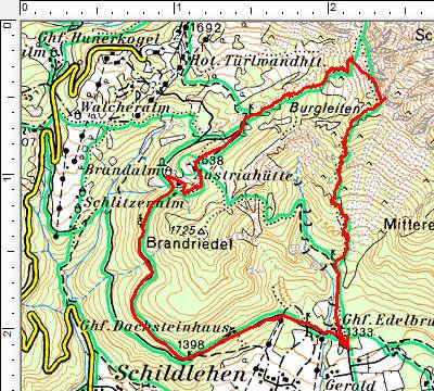 Routenverlauf Jungfrauensteig - Austriahütte - Brandalm