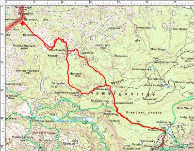 Routenverlauf Stoderzinken - Plankenalm - Bärenloch - Schildenwangalm