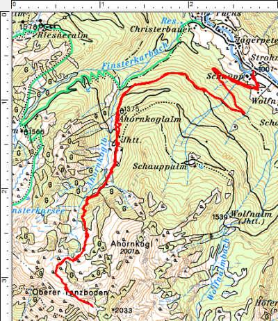 Routenverlauf Ahornkoglalm - Oberer Tanzboden