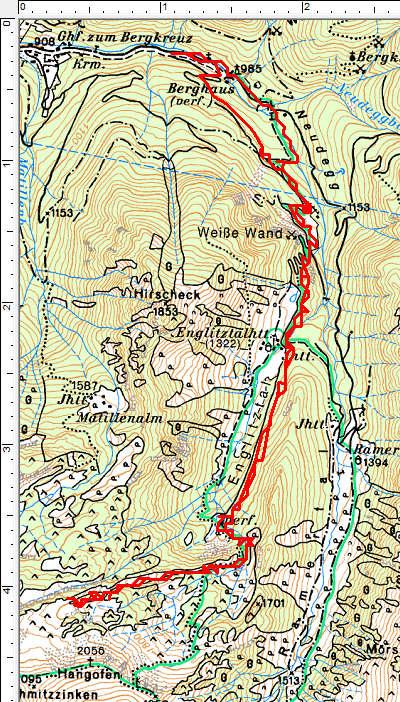 Routenverlauf Englitztalhütte -Hangofenhütte - Plöschmitzzinken