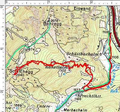 Routenverlauf Marbachalm - Ranstlalm - Schilchegg