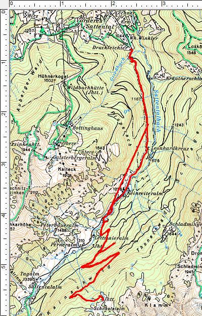 Routenverlauf Sattentalalm - Schneetalalm