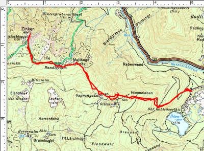 Routenverlauf Ödensee - Handleralm - Zinken