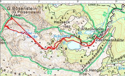 Routenverlauf Edelrautehütte - Großer Bösenstein (mit GPS-Fehler)
