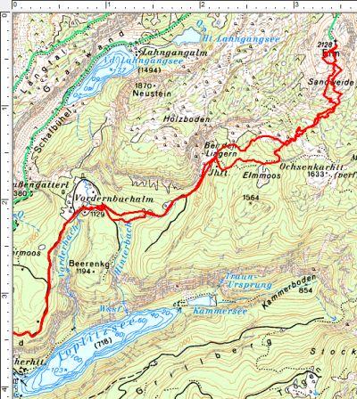 Routenverlauf von der Vordernbachalm zum Elm