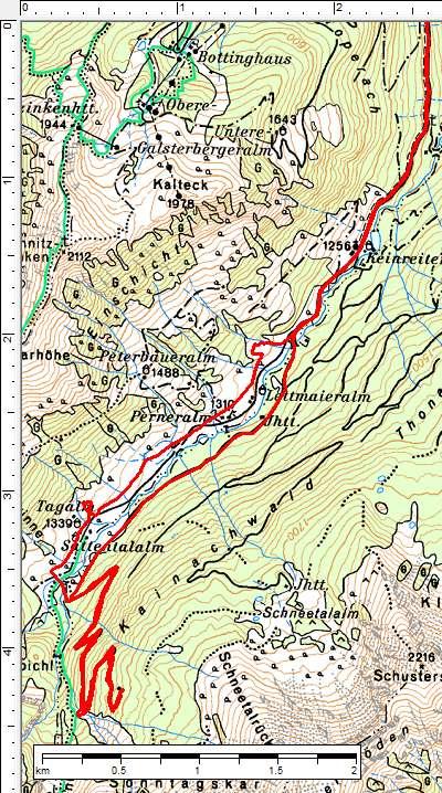 Der Routenverlauf im Hinteren Sattental