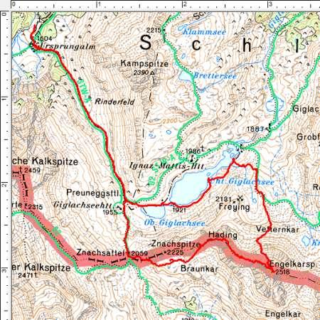 Routenverlauf Ursprungalm - Engelkarspitze - Vetternkar - Giglachsee