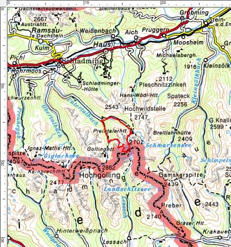 Tourengebiet Preintalerhütte - Gollinghütte