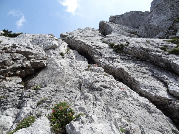 Kletterpassage beim Riss