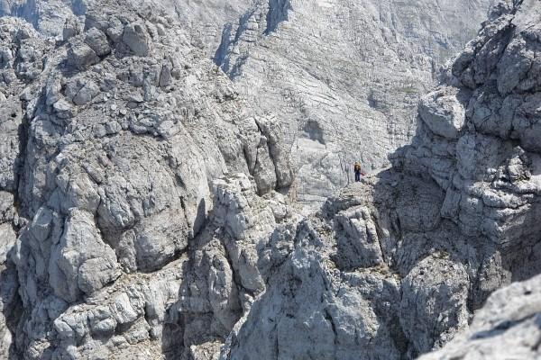 Kletterer am Übergang Richtung Festkogel