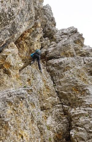 Ingrid in der steilen Rampe am Schmiedstock