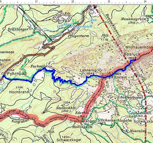 Der Routenverlauf vom Pyhrnpaß über die Fuchsalm zur Gratwanderung Lahnerkogel - Kitzstein - Bosruck