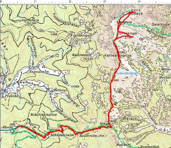 Routenverlauf Mautern / Zidritz - Klauen - Kahlwandspitze - Grieskogel - Gößeck