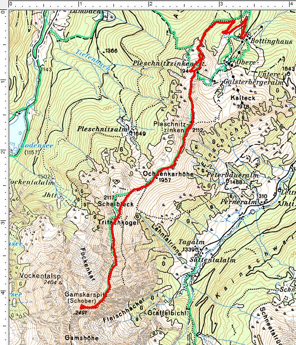 Routenverlauf Pleschnitzzinken - Gamskarspitz