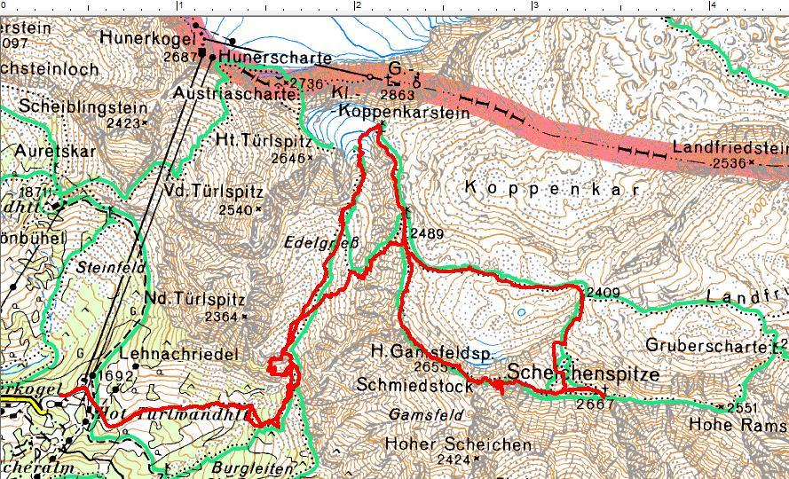 Der Routenverlauf vom Edelgrieß über den Ramsauer Klettersteig auf die Scheichenspitze. Rückweg am Normalweg über die Gletscherreste südlich vom Koppenkarstein (Klick zur Vergrößerung)