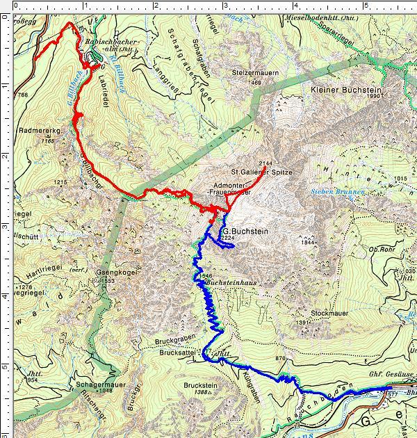 Nordanstieg (rot) und Südanstieg (blau) auf den Großen Buchstein bzw. die St. Gallener Spitze