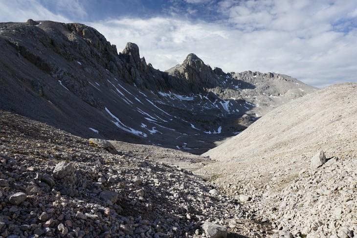 Schmiedstock und Hohe Gamsfeldspitz, über die der Ramsauer Klettersteig führt
