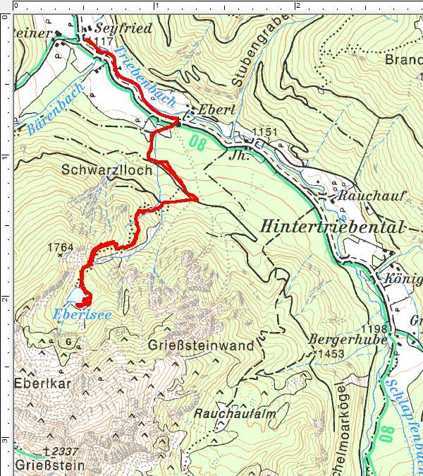 Der Routenverlauf zum Eberlsee
