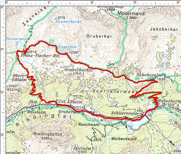 Routenverlauf entgegen dem Uhrzeigersinn: Jakoberalm (fast) - Essersee - Franz-Fischer-Hütte - Schliereralm