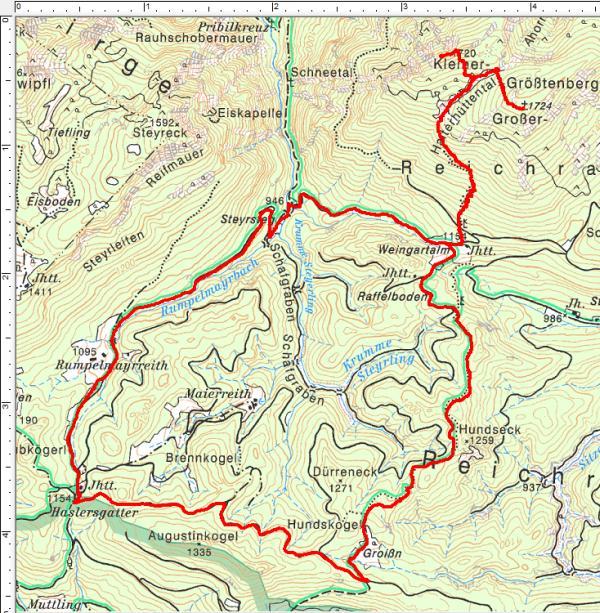 Routenverlauf auf die Größtenberge (im Uhrzeigersinn)