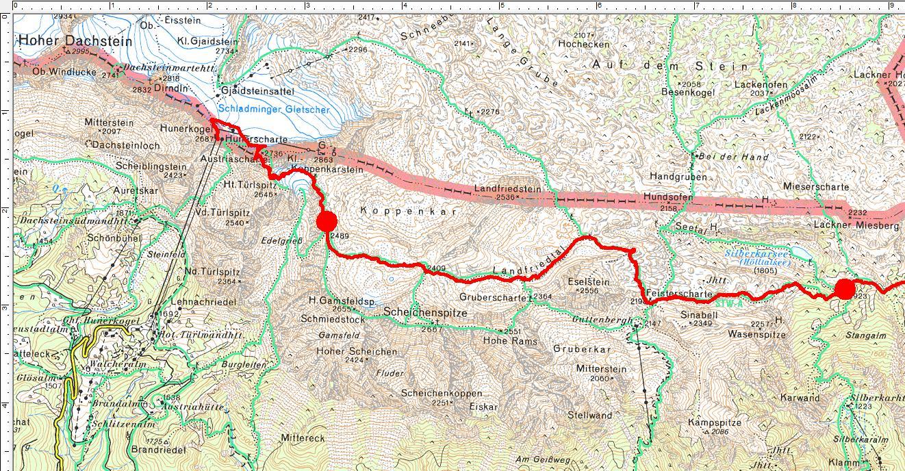 Der Routenverlauf über Abschnitt 1 und 2: Vom Hunerkogel zum Silberkarsee (Klick zur Vergrößerung)