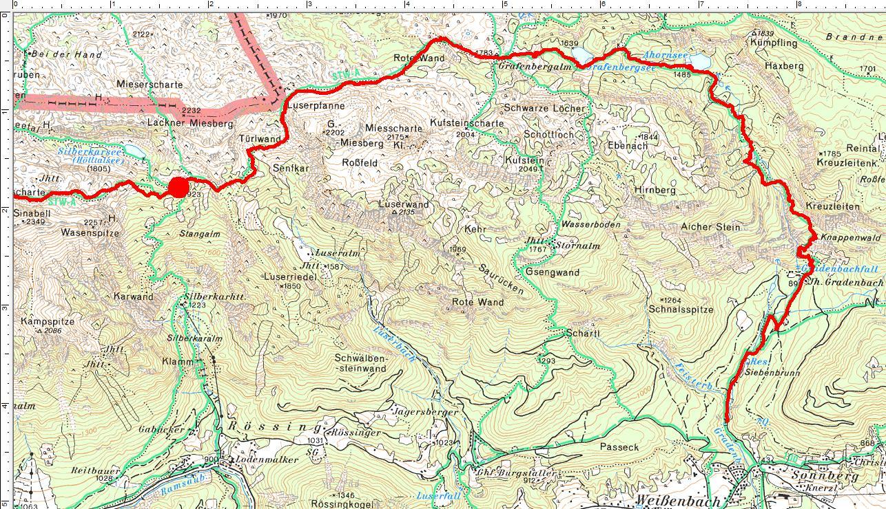 Der Routenverlauf im Abschnitt 3: Vom Silberkarsee über den Ahornsee ins Gradenbachtal (Klick zur Vergrößerung)