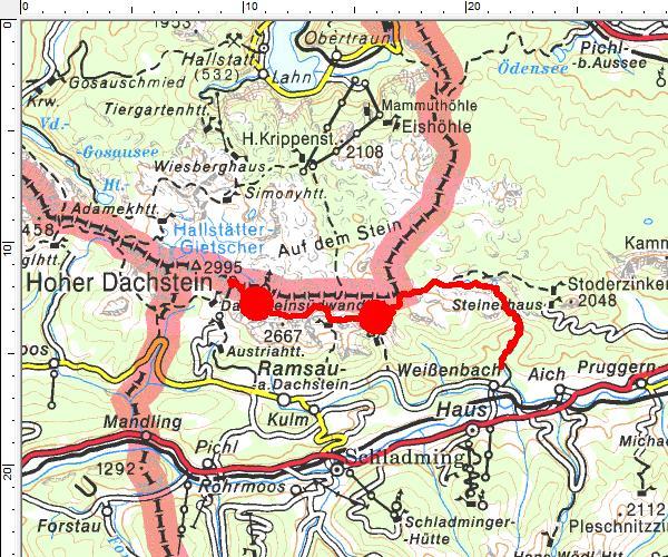 Das Tourengebiet mit Kennzeichnung der Landschafts-Übergänge