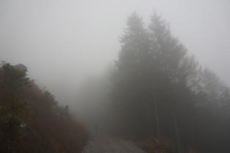 Start im dichten Nebel im Ennstal