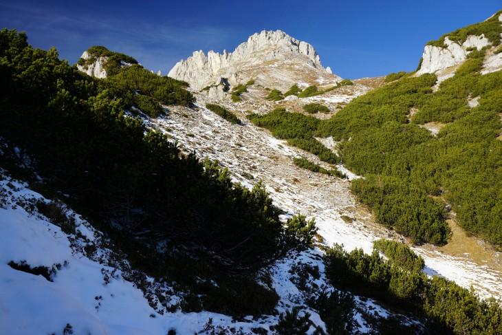 Im Dezember 2014 liegt wieder kaum Schnee am Kammspitz