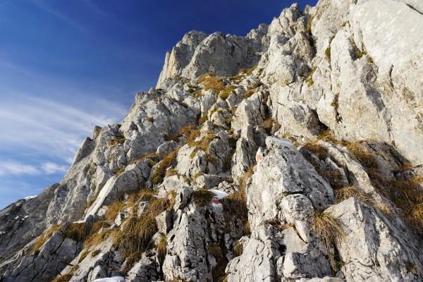 Beginn der Kletterpassage auf den letzten 50 Höhenmetern
