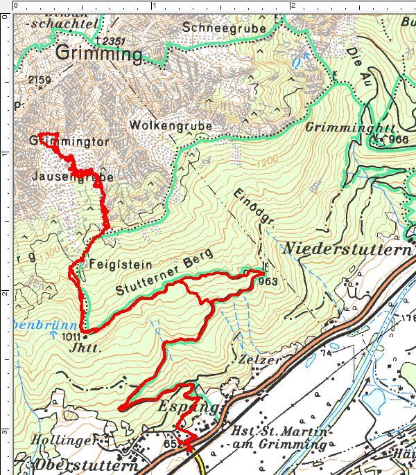 Der Routenverlauf von Espang über den Feiglstein zum Grimmingtor