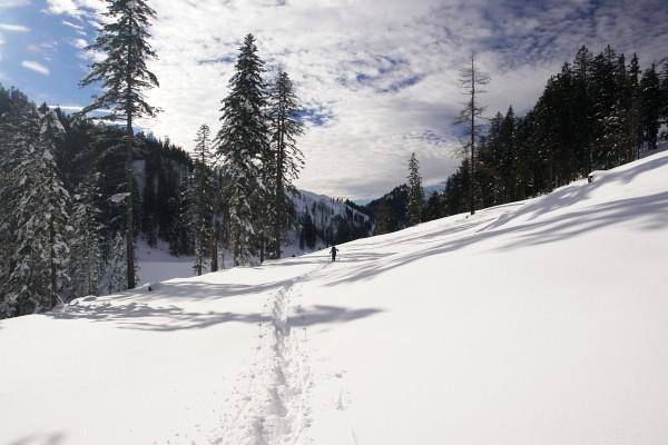 Im tiefen Schnee zur Hinteren Sandlingalm / Pitzingalm.