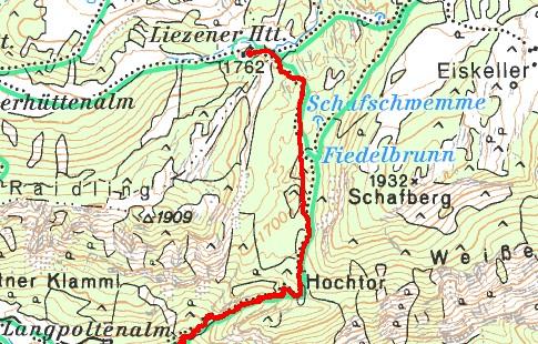 Exakte GPS-Höhe bei der Liezener Hütte