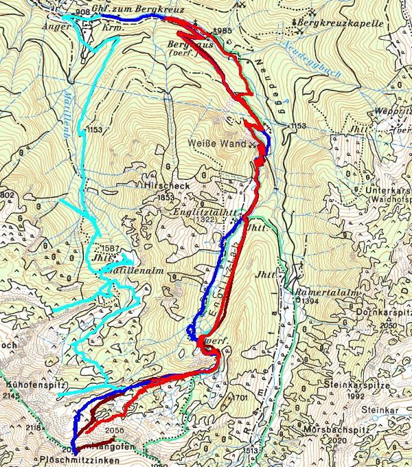 Hellrot die aktuellste Schitour bis knapp vor den Plöschmitzzinken-Gipfel. Zum Vergleich frühere Schitouren und Schneeschuhtouren im Gebiet Englitztal - Hangofenhütte.