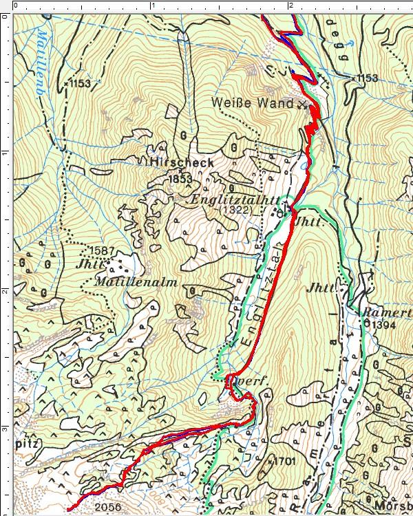 Routenverlauf der Skitour über das Englitztal auf den Plöschmitzzinken