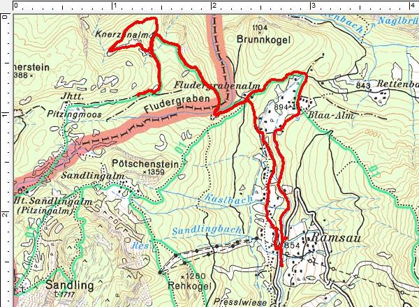 Routenverlauf Blaa-Alm - Fludergrabenalm - Knerzenalm