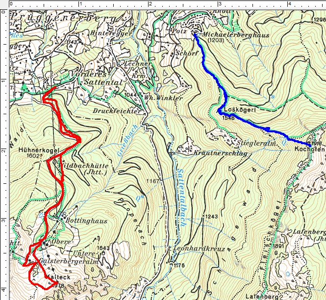 Schitour auf das Kalteck (rot) und Schneeschuhwanderung auf den Kochofen (blau-rechts)