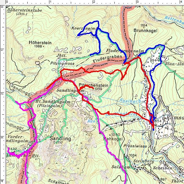 Rot: Routenverlauf Hintere Sandlingalm - Pötschenstein entgegen dem Uhrzeigersinn). Blau: Die gestrige Schneeschuhwanderung zur Knerzenalm. Pink: Meine Sandling-Schneeschuhumrundung im Jänner 2010.