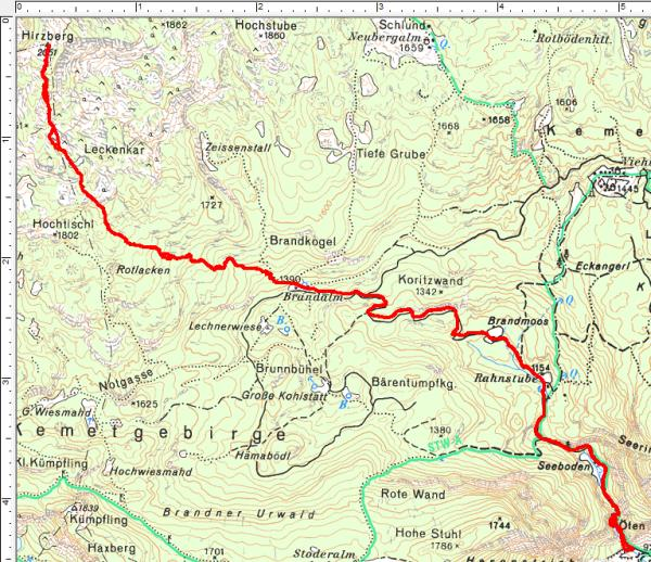 Routenverlauf Brandalm - Hirzberg