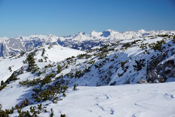 Die höchsten Gipfel des Toten Gebirges um Rotgschirr, Schermberg, Feuertalberg, Großen Priel und Spitzmauer wirken so nah.