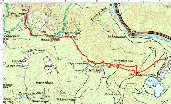 Routenverlauf Handleralm - Ausseer Zinken