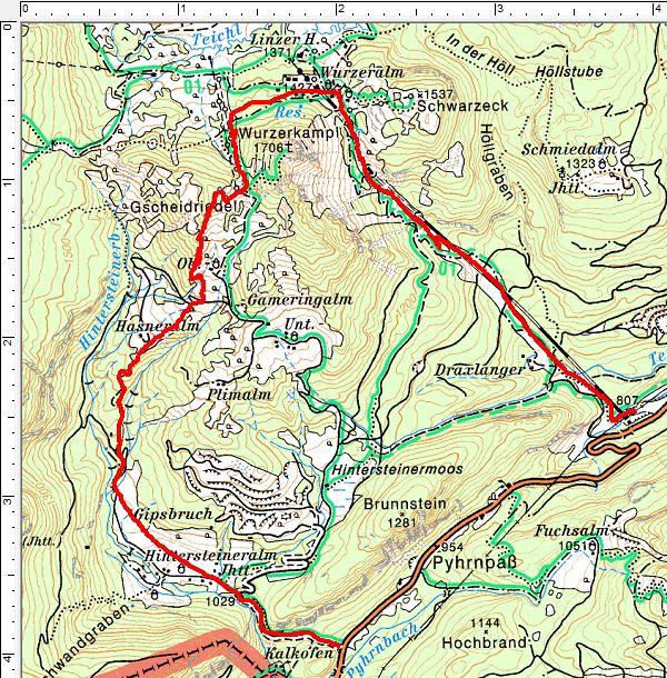 Routenverlauf Hintersteineralm - Hasneralm - Gscheidriedel - Wurzeralm