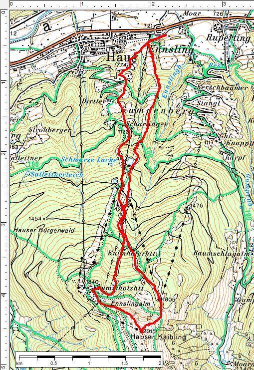 Routenverlauf auf den Hauser Kaibling
