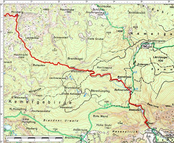 Der Routenverlauf vom Hirzberg nach Gröbming-Winkl / Lend.