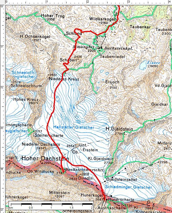 Am Beginn der österreichichen Nationalskitour lassen wir uns den kurzen Abstecher zur aussichtsreichen Dachsteinwartehütte nicht entgehen.