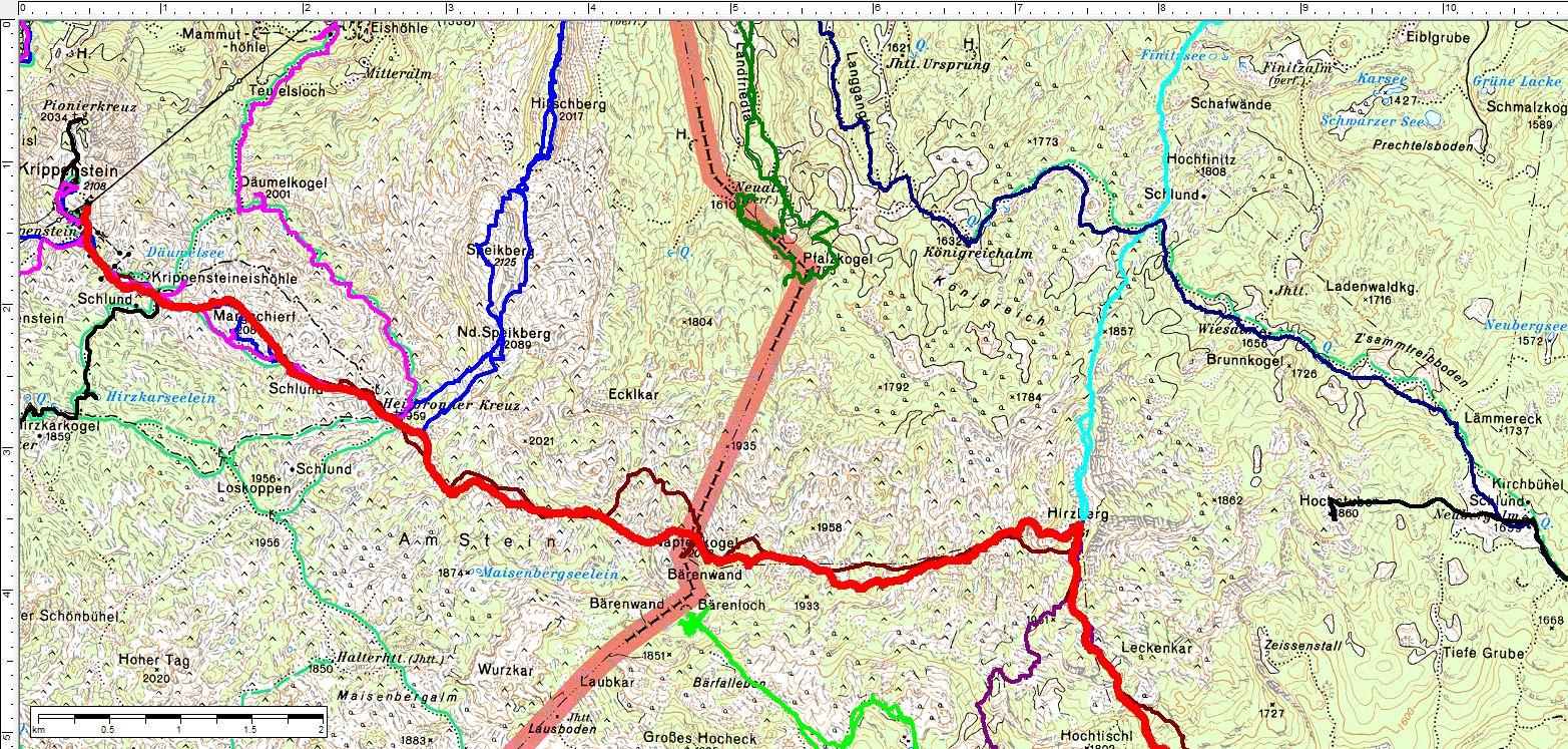 Der Routenverlauf vom Krippenstein zum Hirzberg (dicke rote Linie). Daneben (dünner) frühere Wandertouren in diesem einsamen Gebiet des Dachsteingebirges. (Klick zur Vergrößerung)