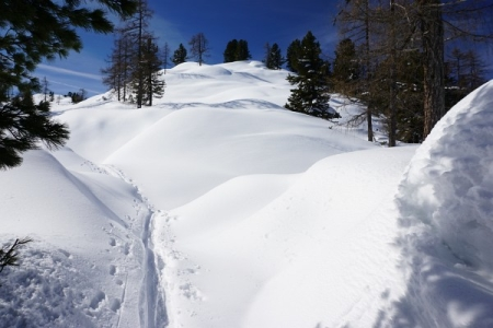 Am Hocheck treffen wir auf ein Paar bei der Rast - Sie mit Tourenschi, er mit Schneeschuhen.