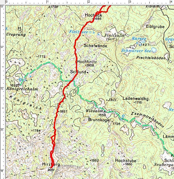 Routenverlauf vom Hocheck auf den Hirzberg