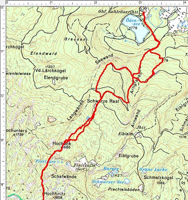 Routenverlauf vom Ödensee auf das Hocheck